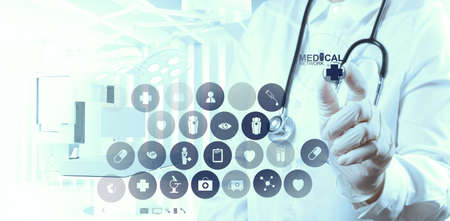 success smart medical doctor working with operating room as medical network concept photo