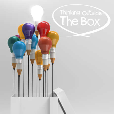 think outside the box: drawing idea pencil and light bulb as concept think outside the box