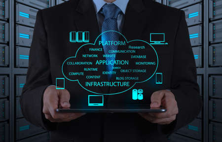 infrastructure: Businessman hand working with a Cloud Computing diagram on the new computer interface as concept