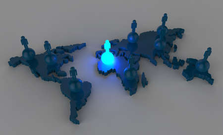 social network human 3d light growing on world map as concept photo