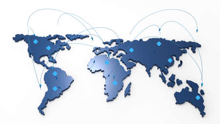 3d world map medical network as concept Stock Photo - 19646126