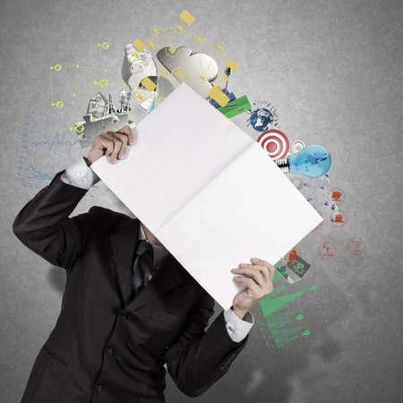 businessman hand show black cover book of success business as concept photo