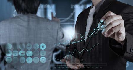 회사: 사업가 손 개념으로, 새로운, 현대, 컴퓨터 및 비즈니스 전략과 협력