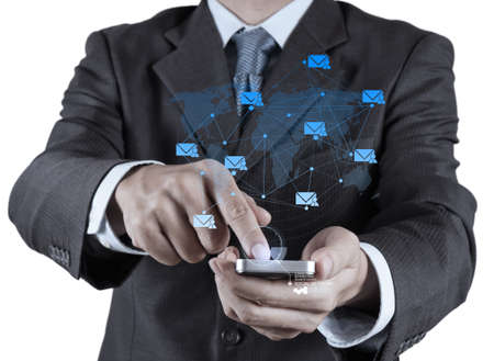 businessman hand use smart phone computer with email icon as concept photo