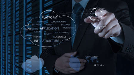 Businessman hand working with a Cloud Computing diagram on the new computer interface as concept Stock Photo - 20101417