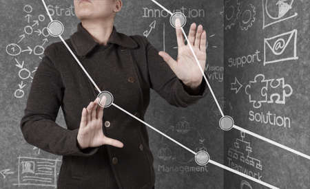 businesswoman hand working with new modern computer and business strategy as concept Stock Photo