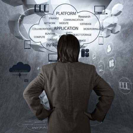 technology technology symbol: Businessman hand working with a Cloud Computing diagram on the new computer interface as concept