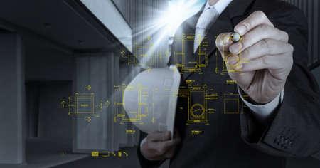 piping: engineer drawing main hole sanitary diagram on virtual board as concept