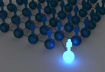 3d light growing human social network and leadership as concept photo