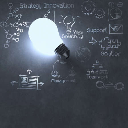 innovations: light bulb 3d on business strategy background