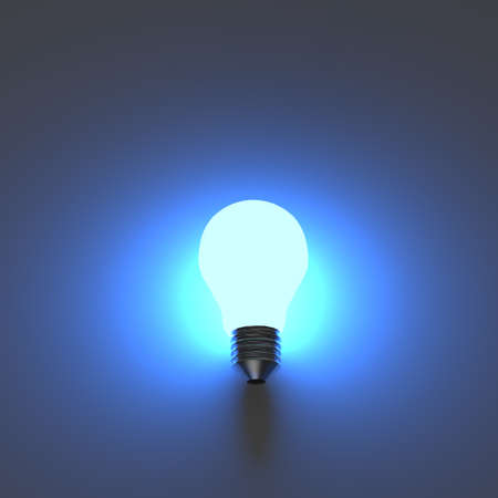 light bulb 3d on blue background Stock Photo - 20097001