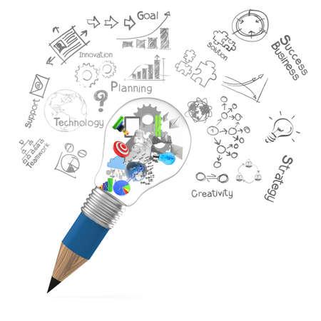 電球を鉛筆と創造的なデザイン ビジネス ビジネス デザイン コンセプトとして 3 d