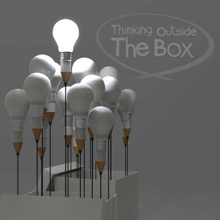 drawing idea pencil and light bulb concept outside the box as creative and leadership concept photo