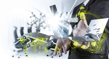 businessman shows modern technology as concept Stock Photo - 20101017
