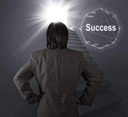 businessman thinking of the stairway to success as business concept Stock Photo - 20101207