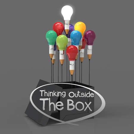 鉛筆と電球概念リーダーシップ概念と創造的なボックスの外側を考えるアイデアを描画