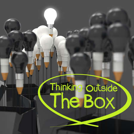 drawing idea pencil and light bulb concept think outside the box as creative and leadership concept photo