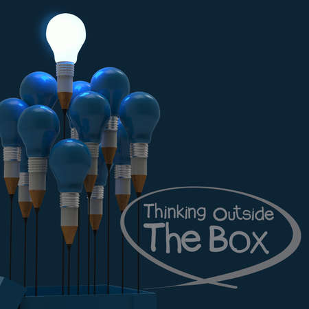 3d art: drawing idea pencil and light bulb concept think outside the box as creative and leadership concept Stock Photo