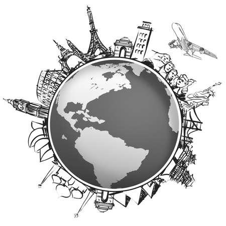 mundo manos: avión que viaja alrededor del mundo como concepto