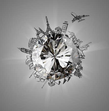 飛行機の概念として世界中を旅とダイヤモンド 写真素材