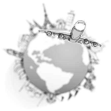 airplane traveling around the world as concept Stock Photo - 20097033