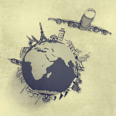 airplane traveling around the world as concept Stock Photo - 20100946