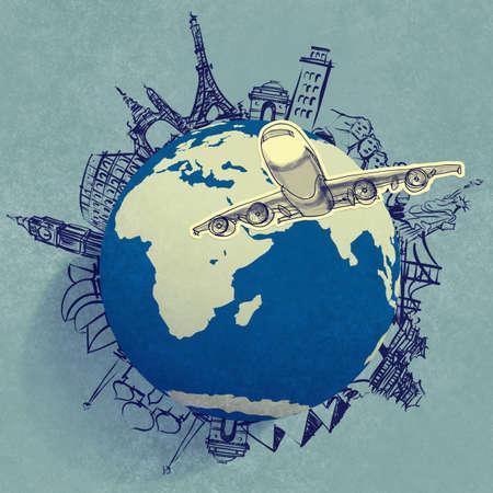 飛行機の概念として世界中を旅 写真素材