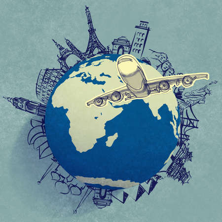 human geography: airplane traveling around the world as concept