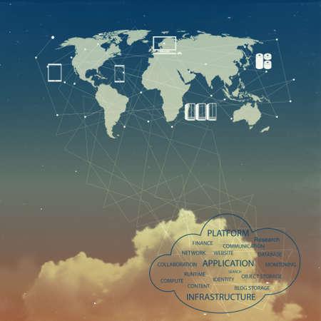computer services: cloud network idea as vintage concept