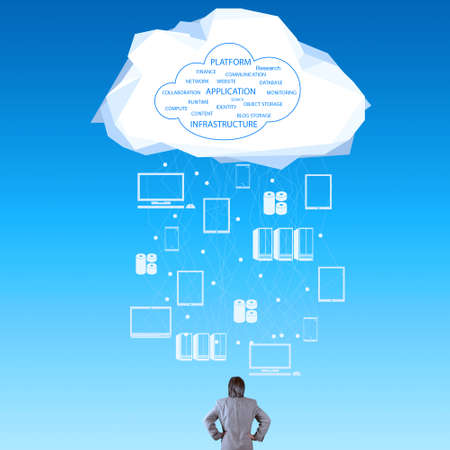 computer services: businessman thinking about cloud network idea as concept Stock Photo