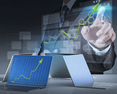 information science:  businessman hand working on modern technology