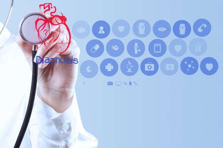 cardiologist: Medicine doctor hand working with modern computer interface as medical concept