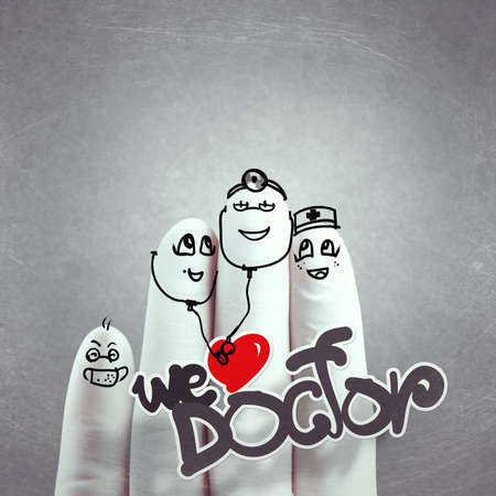A lovely family hand drawn and finger,doctor and nurse,we love doctor concept as vintage style photo