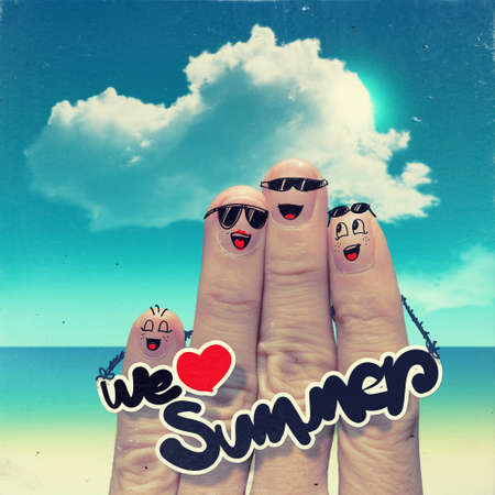 kinfolk: Finger family travels at the beach and we love summer word as vintage style concept. Stock Photo