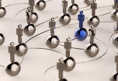 3d stainless human social network and leadership as vintage style