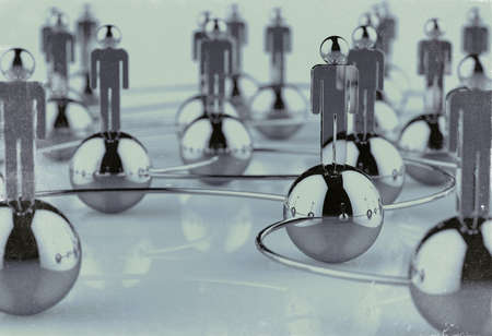 3d stainless human social network as vintage style concept
