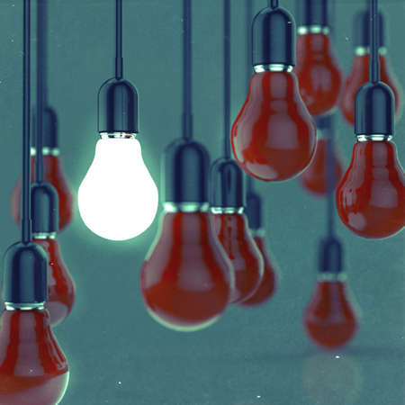 creative idea and leadership concept light bulb as vintage style Stock Photo - 20644049