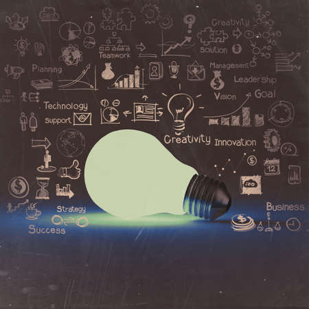 light bulb 3d on business strategy background as vintage concept