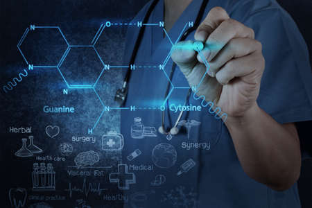 chemist doctor hand drawing chemical formulas on virtual board Stock Photo - 20643967