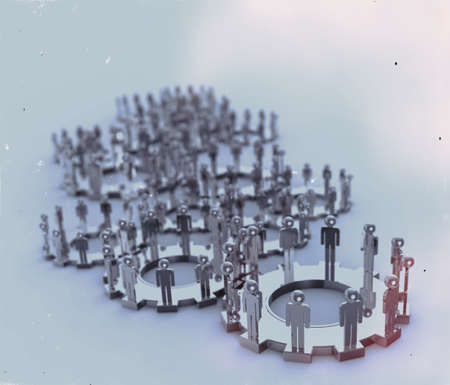 international organization: Model of 3d figures on connected cogs as industry vintage style concept