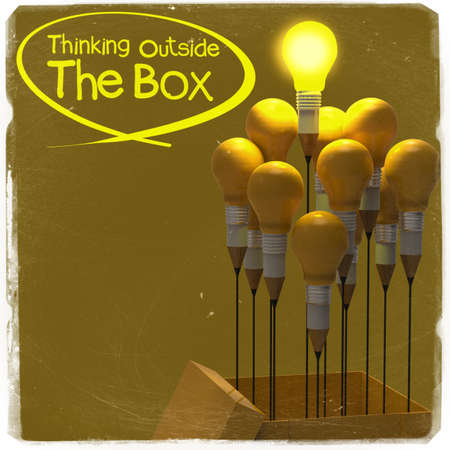 drawing idea pencil and light bulb concept outside the box as creative and leadership as vintage style photo