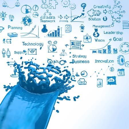 color consultant: 3D paint blue color splashand business strategy background as concept