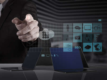 world wide: businessman hand working with www  written in search bar on modern computer interface