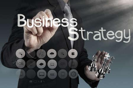 businessman hand draws business success chart concept photo