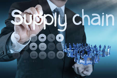 supplies: business man writing supply chain management concept by flow from supplier to customer Stock Photo