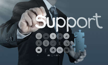 businessman hand writing support concept photo