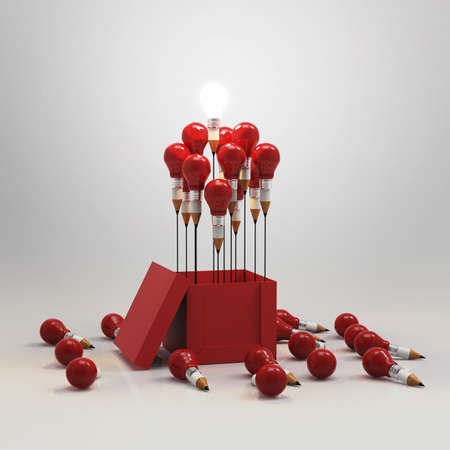 red pen: drawing idea pencil and light bulb concept outside the box as creative and leadership concept