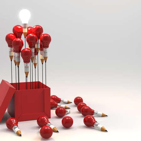 창조적 인 리더십 개념으로 상자 밖에서 생각 연필과 전구의 개념을 그리기 스톡 콘텐츠