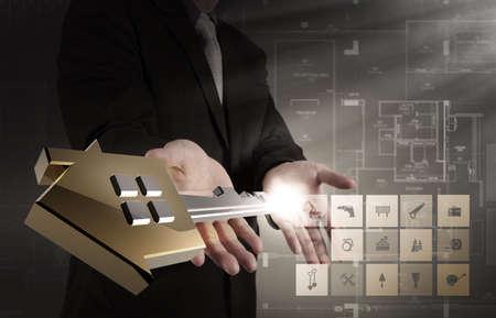 businessman draws building development concept photo