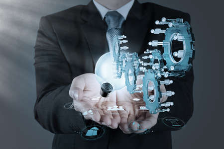 businessman hand pointing to investment concept Stock Photo - 21271006